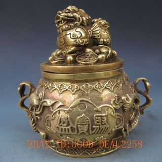 Chinese Brass Hand - Carved Cornucopia & Lions Lid W Ming Xuande Mark photo
