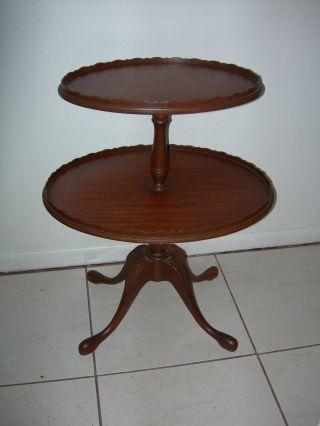 Antique Vintage Ferguson End Coffee Lamp Oval 2 Tier Pie Table Chippendale Nj photo