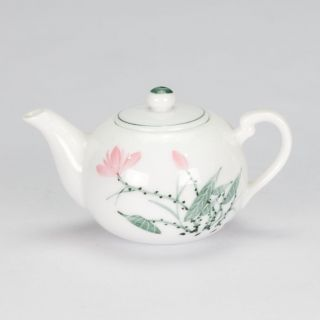 Antique Style Pink White Miniature Mini Teapot Porcelain Hand Painted 3
