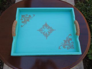 Shabby French Cottage Chic Vintage Turquoise Wood Serving Tray 16