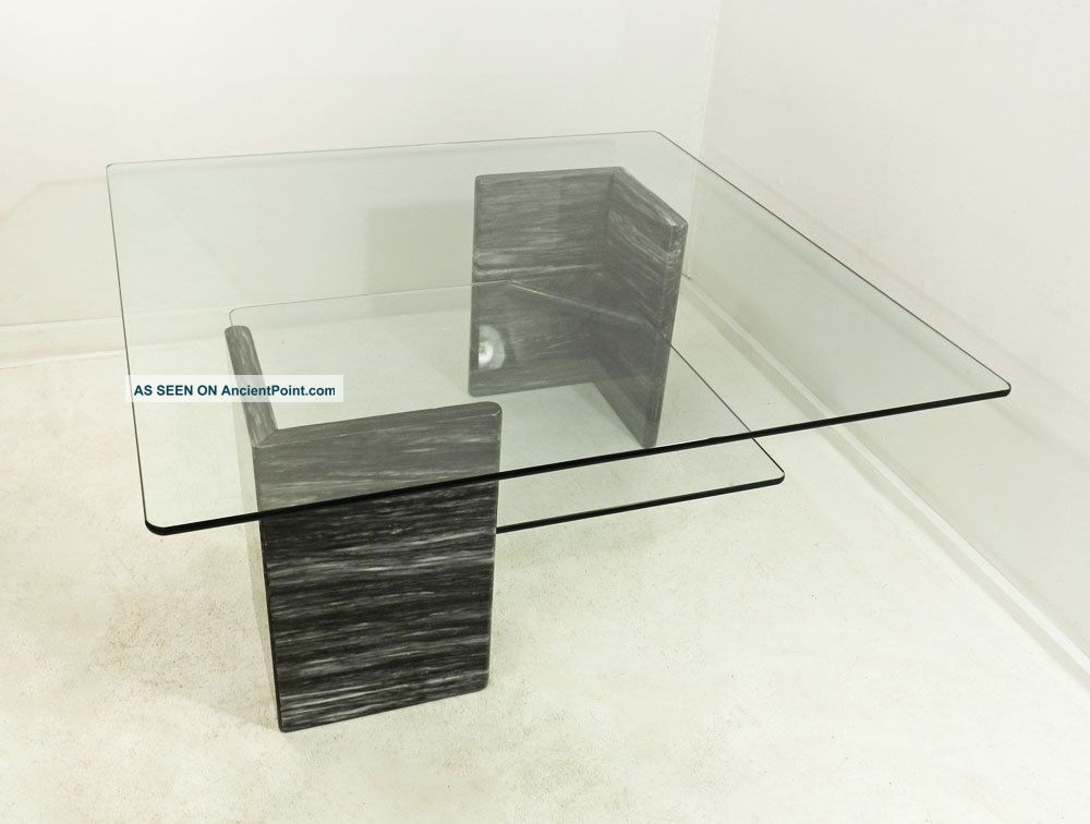 Mid Century Modern Marble Base Glass Top Vtg Coffee Table - Marble base glass top coffee table
