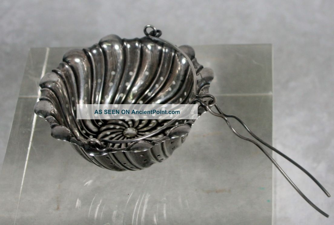 Antique Whiting Sterling Silver Tea Basket Strainer Spout Attachment Swirled Other photo