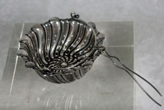 Antique Whiting Sterling Silver Tea Basket Strainer Spout Attachment Swirled photo