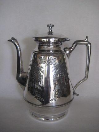 Old Antique Meriden Brita Company 1800 Silverplate Coffee Tea Pot photo