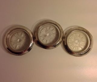 Vintage Set Of 3 Frank M Whiting 04 Pattern Sterling Silver & Glass Coasters photo