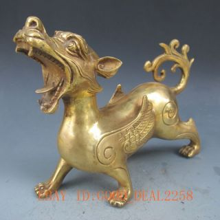 Chinese Brass Hand - Carved Kirin Statue photo