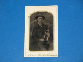 Rare 1870s Tintype Photo,  Musician With Horn,