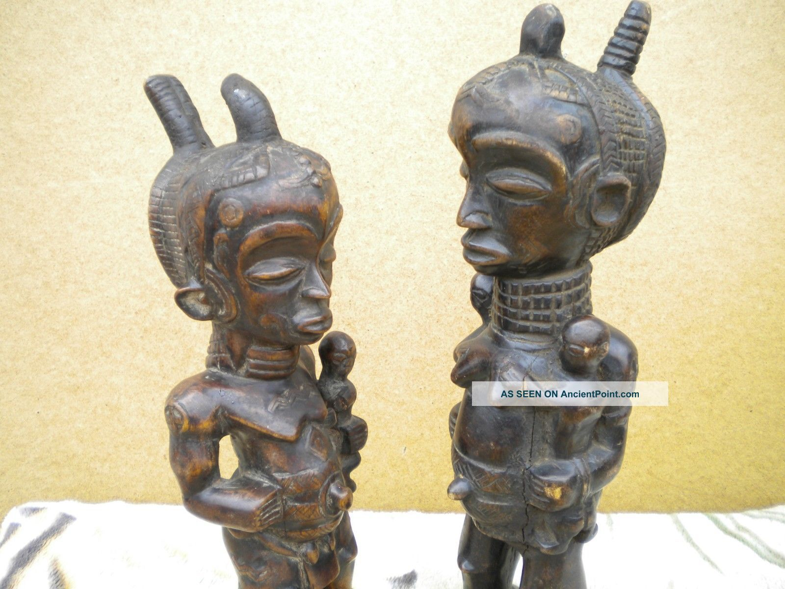 African Luhya Tribe From Kenya Happy And Prosperity Wood Carvings Sculptures & Statues photo