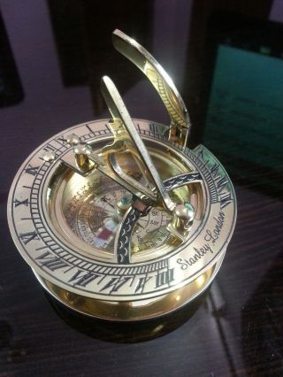 Nautical Sundial Compass Maritime Old Style Brass Directional & Vintage 3