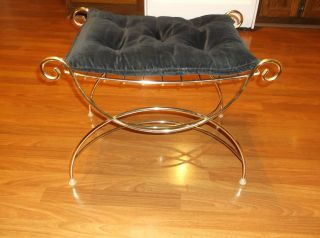 Vtg Hollywood Regency Gold Metal Vanity Bench Seat Chair Black Cushion photo