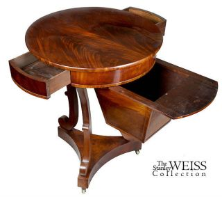Swc - Circular Mahogany Sewing Table,  C.  1840 photo