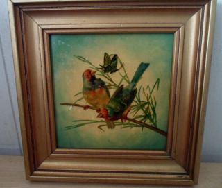Vintage Framed Hand Painted Tile Birds Branches Butterfly Cottage Chic photo