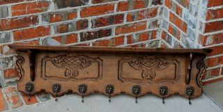 Antique French Country Oak Wall Shelf Coat Hat Copper Pot Rack Lion ' S Mask Hooks photo