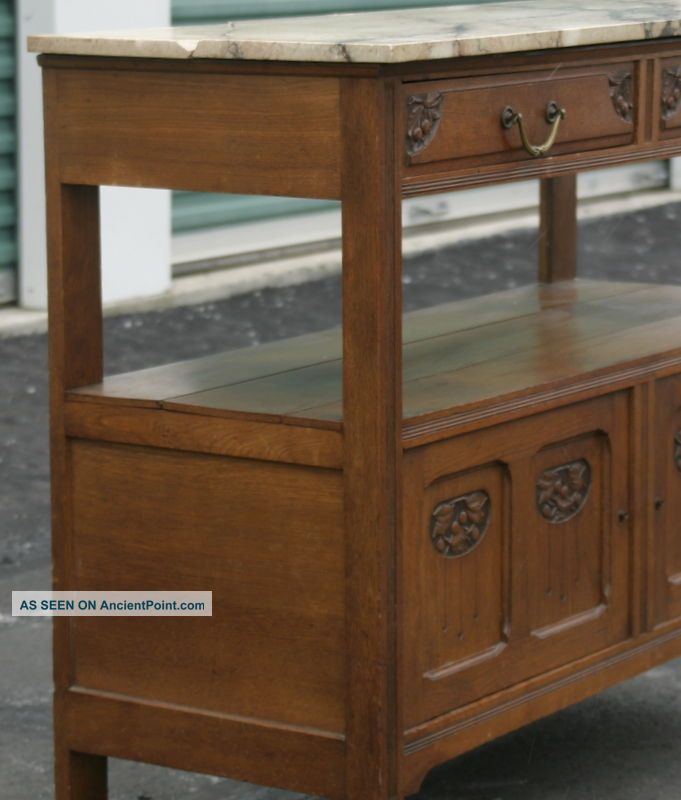 French Antique Art Nouveau Or Arts And Craft Marble Top Sideboard Carved Florals 1800-1899 photo