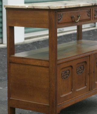 French Antique Art Nouveau Or Arts And Craft Marble Top Sideboard Carved Florals photo