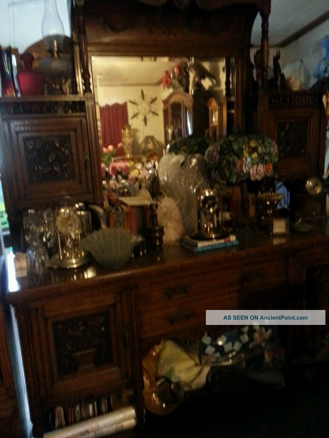 , Tall,  Vintage Sideboard Hand Carving With Drawers,  Lots Of Storage 1900-1950 photo