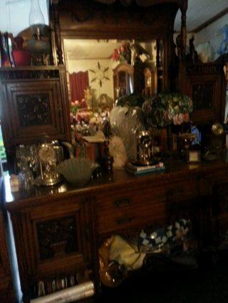 , Tall,  Vintage Sideboard Hand Carving With Drawers,  Lots Of Storage photo