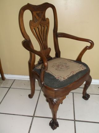 Not Swc High End 1800 - 1899 Chippendale Style Arm Chair Open Talon Feet Med Wood photo