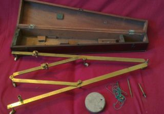 19th C.  Brass Pantograph - Mahogany Case - Porcelain Wheels - Complete & photo