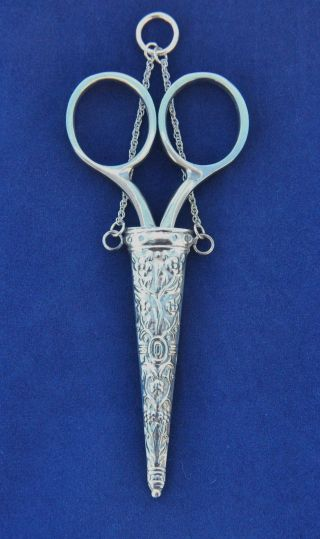 Victorian Style Sterling Silver Chatelaine Scissor Holder Stainless Scissors photo