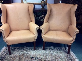 Antique 19th Century Chippendale Style Leather Nailhead Wingback Armchair Chairs photo