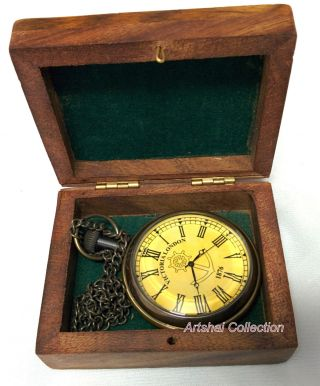 Exclusive Mens Pocket Watch.  Hand - Made With Chain And Case photo