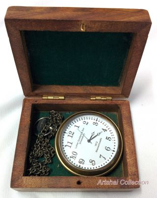 Hand - Made Pocket Watch With Wooden Case And Chain.  White Dial photo