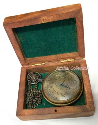 Hand - Made Engraved Pocket Watch With Wooden Case And Chain photo