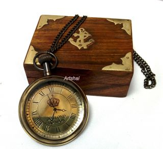 Dollond London Design Pocket Watch With Wooden Box.  Hand - Made From Brass photo