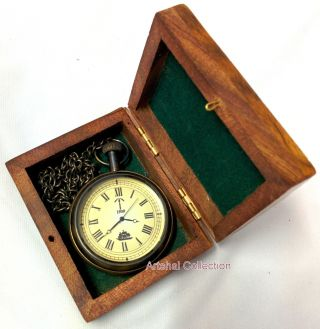 Ship Design Pocket Watch With Chain And Wooden Box photo