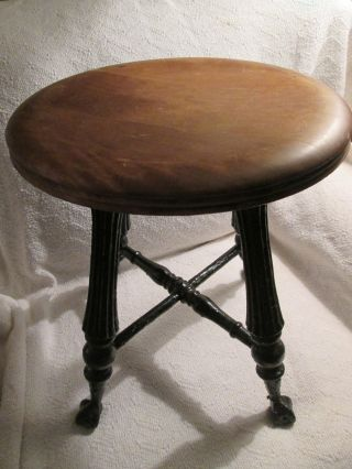 Antique Piano Stool Wooden Glass Claw Footed Medium Wood Tone Seat photo
