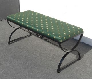 Black Wrought Iron Bench Decorative Frame Green Fabric photo