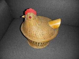 Vintage Hen On Nest Wicker & Wood Sewing Basket With Lid Folk Art Chicken photo
