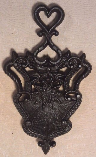 Vintage Cast Iron Wilton Hearts Flowers Trivet photo