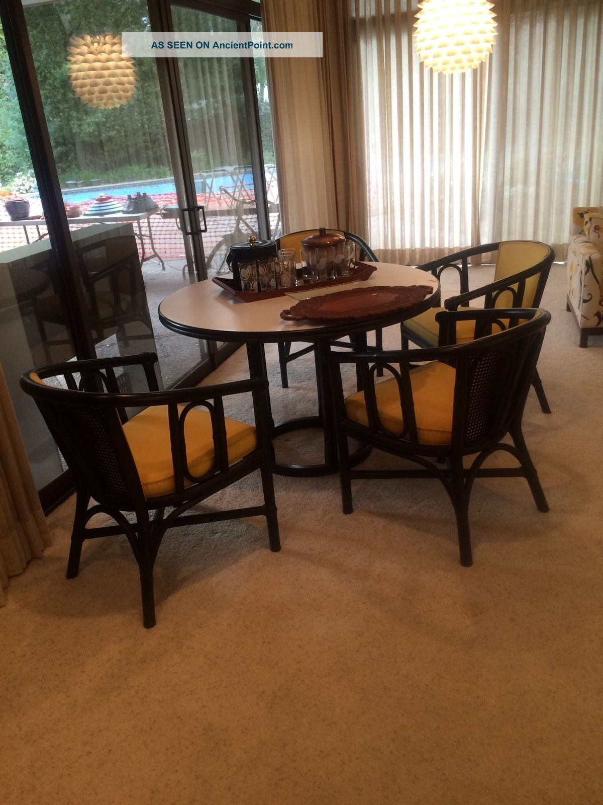 Mcguire (san Francisco) Table And 4 Chairs Bamboo Post-1950 photo