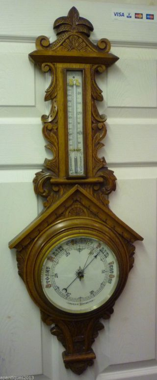 Fantastic Looking Large Carved Oak Victorian Barometer In Exellent Condition photo