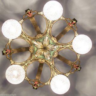 697 Vintage 20s 30s Ceiling Light Lamp Fixture Art Nouveau Polychrome Chandelier photo