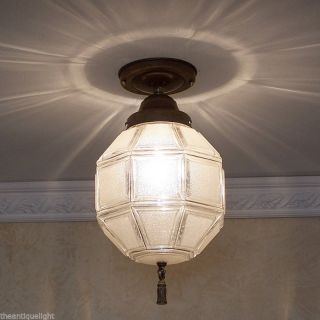 570 Vintage 30 ' S 40 ' S Ceiling Light Lamp Fixture Re - Wire Porch Hall Octagonal photo