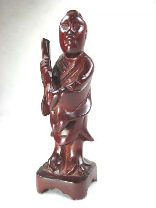 Chinese Vintage Rosewood Hand Carved Figurine Of Chinese Immortal Han Xiangzi Jj photo