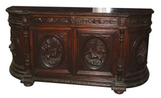 Rococo Revival Oak Sideboard With Detailed Hunting Scenes 1298 photo