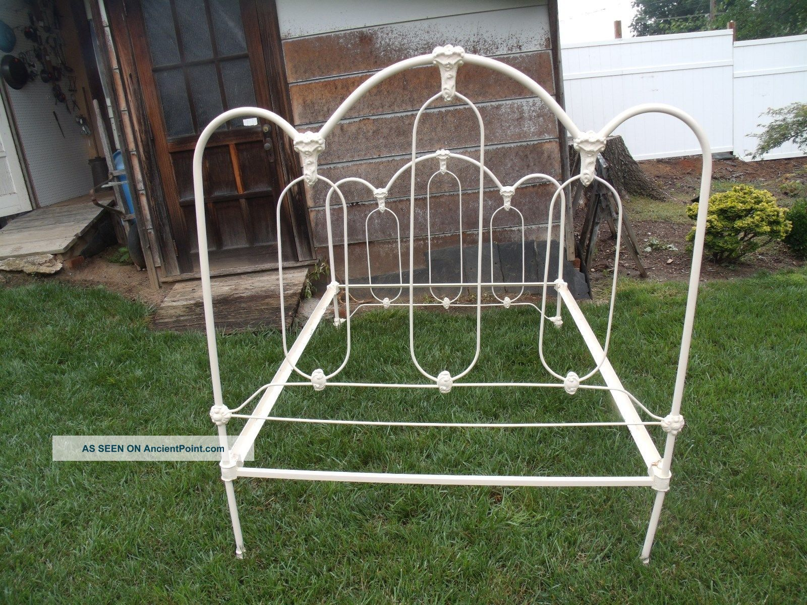 Early 1900 U0027 S Antique Victorian Ornate Full Size Cast Iron Bed Frame With  Rails Photo