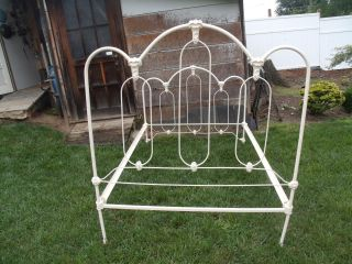 Early 1900 ' S Antique Victorian Ornate Full Size Cast Iron Bed Frame With Rails photo