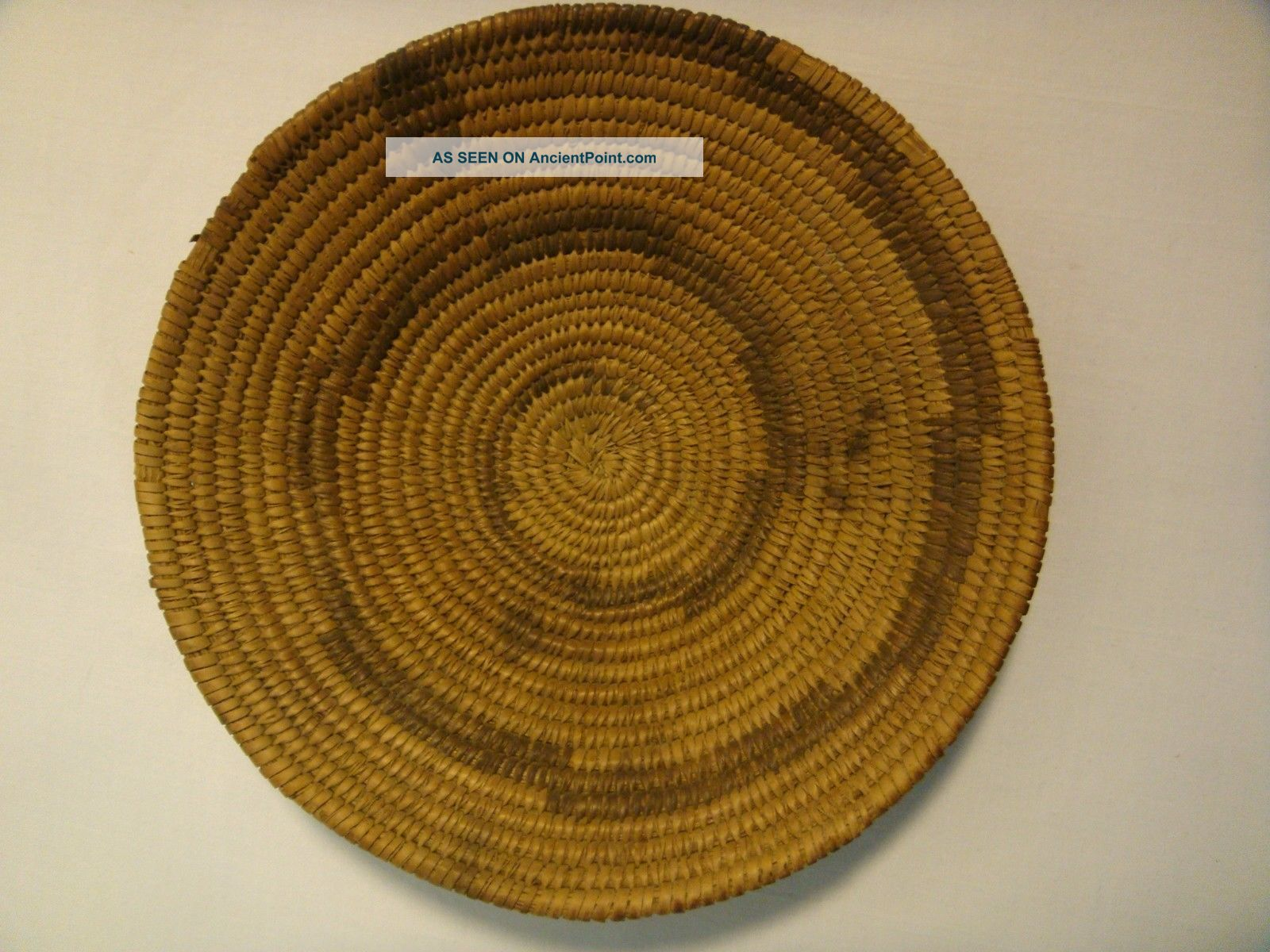 Antique Native American Pima Indian Basket Tray Hand Woven Small Low Willow Bowl Native American photo