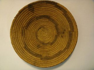 Antique Native American Pima Indian Basket Tray Hand Woven Small Low Willow Bowl photo