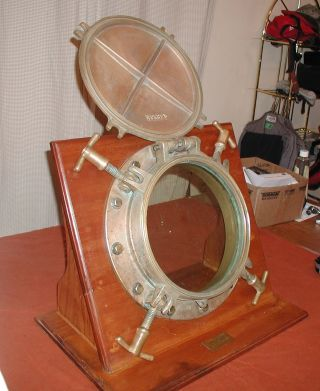 Ww2 Vintage Brass Porthole From Uscg Cutter Spencer W36 With Battlecover & Glass photo