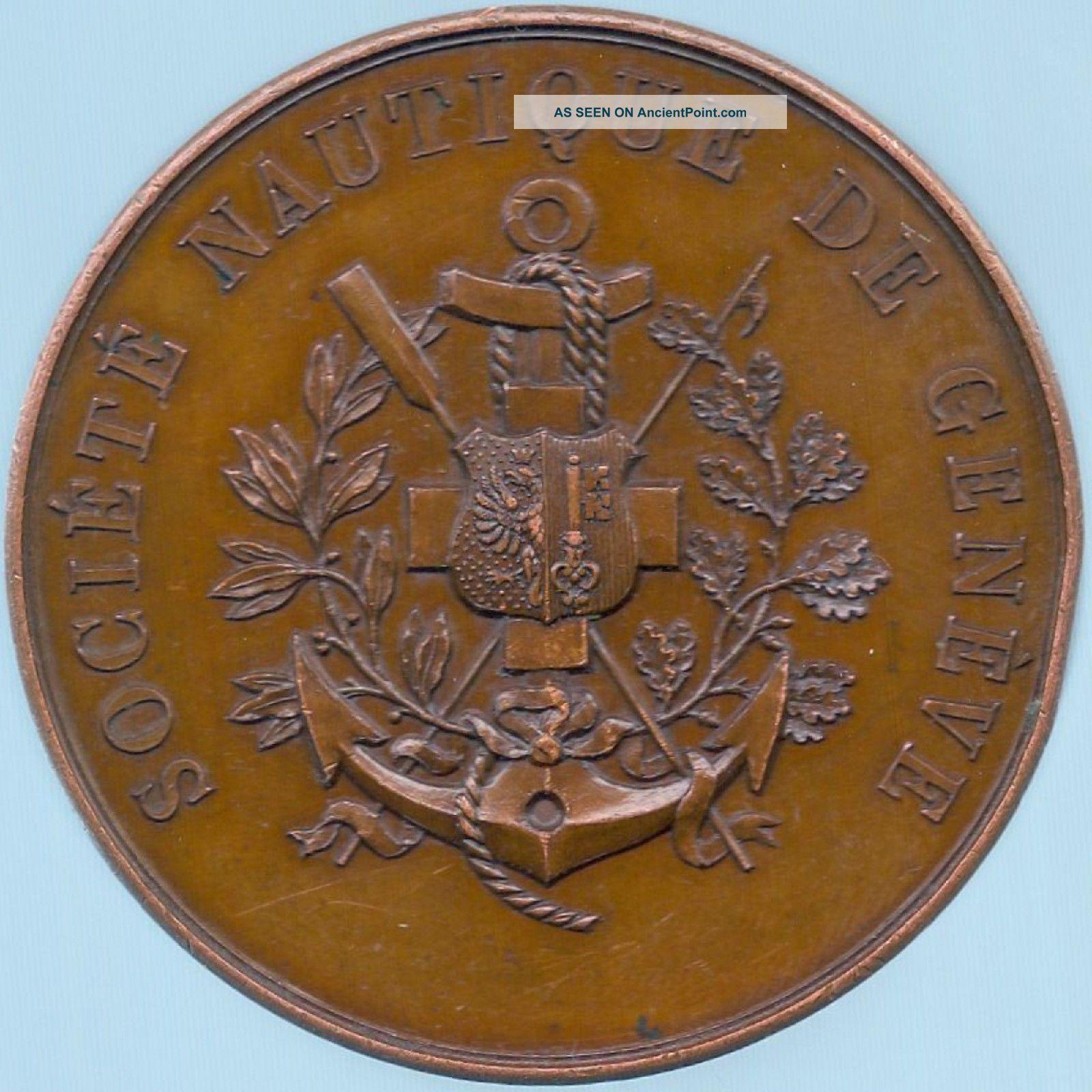 1880 – 1898 Monnaie De Paris Société Nautique De Genève Bronze Yacht Medal Other photo