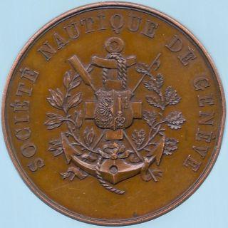 1880 – 1898 Monnaie De Paris Société Nautique De Genève Bronze Yacht Medal photo