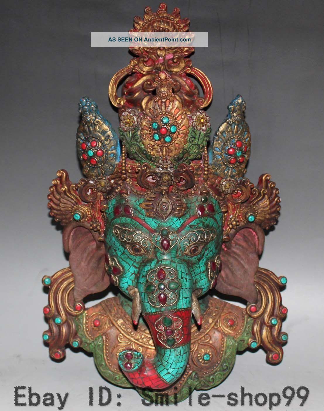 Tibetan Buddhism Turquoise & Coral Elephant Mammon God Wealth Mask Buddha Statue Buddha photo