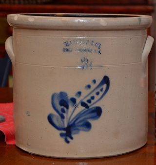 Antique Stoneware Crock Haxtun & Co.  Ft.  Edward Ny Cobalt photo