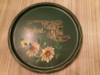 Hand Painted Vintage Tole Ware Souvenir Travel State Tray Nashco Maryland photo
